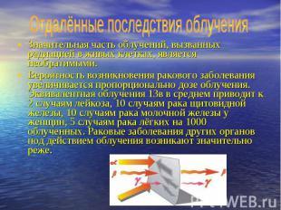 Отдалённые последствия облучения Значительная часть облучений, вызванных радиаци