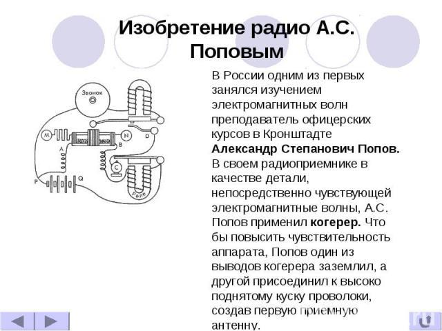 Изобретение радио А.С. Поповым В России одним из первых занялся изучением электромагнитных волн преподаватель офицерских курсов в Кронштадте Александр Степанович Попов. В своем радиоприемнике в качестве детали, непосредственно чувствующей электромаг…