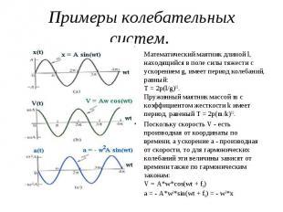 Примеры колебательных систем. Математический маятник длиной l, находящийся в пол