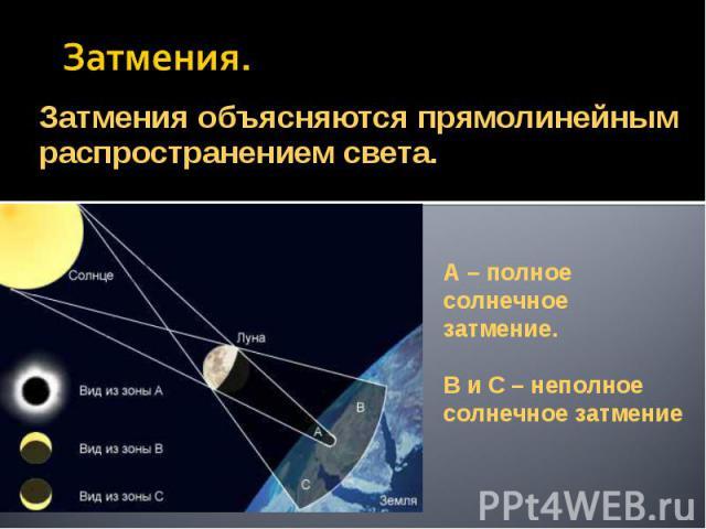 Затмения. Затмения объясняются прямолинейным распространением света.А – полное солнечное затмение.В и С – неполное солнечное затмение