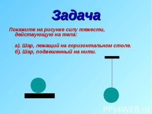Задача Покажите на рисунке силу тяжести, действующую на тела: а). Шар, лежащий н