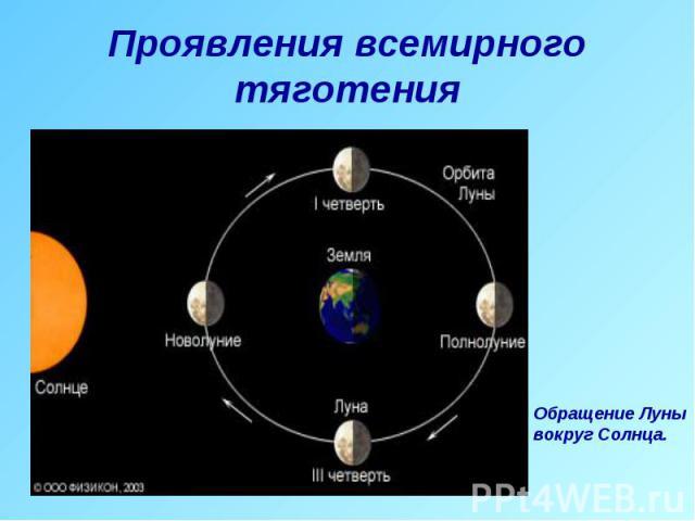 Проявления всемирного тяготения Обращение Лунывокруг Солнца.