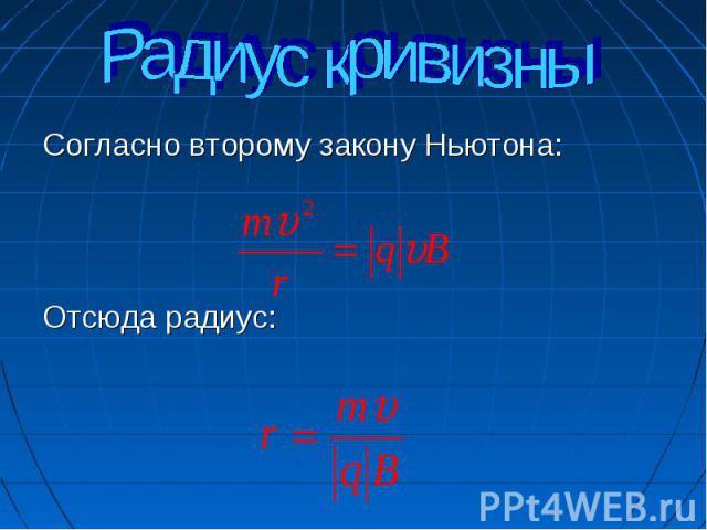 Радиус кривизны Согласно второму закону Ньютона:Отсюда радиус:
