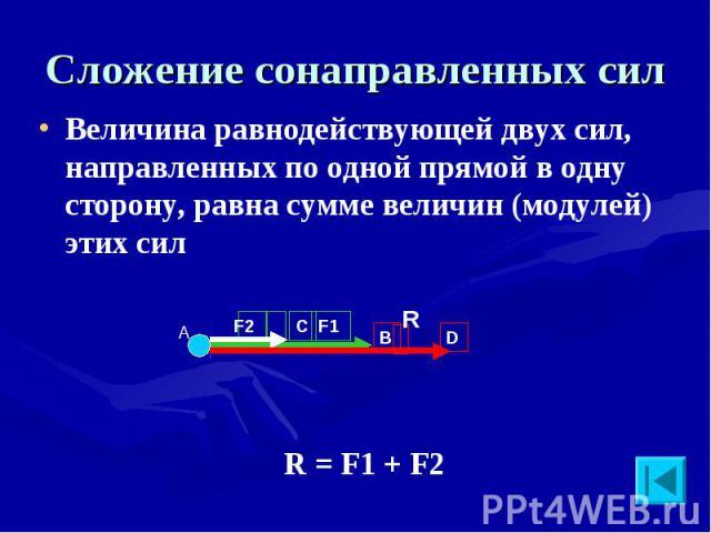 Сложение сонаправленных сил Величина равнодействующей двух сил, направленных по одной прямой в одну сторону, равна сумме величин (модулей) этих сил R = F1 + F2