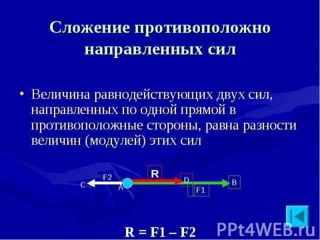 Сложение противоположно направленных сил Величина равнодействующих двух сил, направленных по одной прямой в противоположные стороны, равна разности величин (модулей) этих сил R = F1 – F2