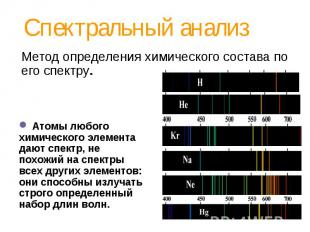 Спектральный анализ Метод определения химического состава по его спектру. Атомы