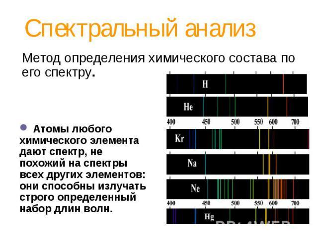 Спектральный анализ Метод определения химического состава по его спектру. Атомы любого химического элемента дают спектр, не похожий на спектры всех других элементов: они способны излучать строго определенный набор длин волн.