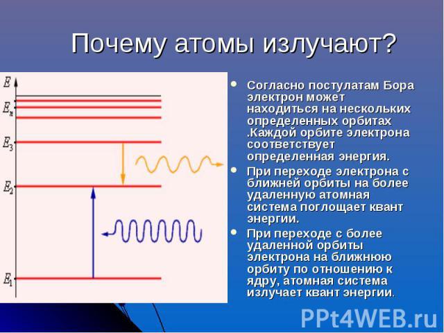 Почему атомы излучают? Согласно постулатам Бора электрон может находиться на нескольких определенных орбитах .Каждой орбите электрона соответствует определенная энергия.При переходе электрона с ближней орбиты на более удаленную атомная система погло…