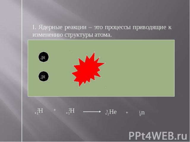 I. Ядерные реакции – это процессы приводящие к изменению структуры атома.