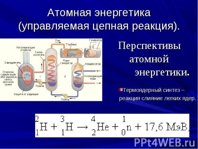 Атомная энергетика (управляемая цепная реакция). Перспективы атомной энергетики.Термоядерный синтез – реакция слияние легких ядер.