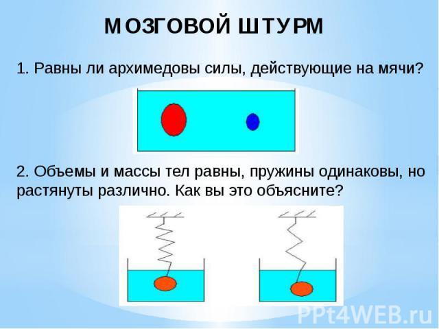 МОЗГОВОЙ ШТУРМ 1. Равны ли архимедовы силы, действующие на мячи? 2. Объемы и массы тел равны, пружины одинаковы, но растянуты различно. Как вы это объясните?
