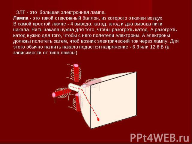 ЭЛТ - это большая электронная лампа. Лампа - это такой стеклянный баллон, из которого откачан воздух.В самой простой лампе - 4 вывода: катод, анод и два вывода нити накала. Нить накала нужна для того, чтобы разогреть катод. А разогреть катод нужно д…