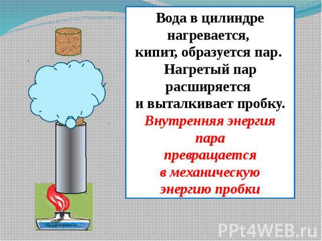 Вода в цилиндре нагревается, кипит, образуется пар. Нагретый пар расширяется и выталкивает пробку.Внутренняя энергия парапревращаетсяв механическуюэнергию пробки