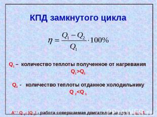 КПД замкнутого цикла Q1 – количество теплоты полученное от нагревания Q1>Q2Q2 -