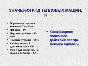 ЗНАЧЕНИЯ КПД ТЕПЛОВЫХ МАШИН, % Поршневая паровая машина – 7% - 15%Паровоз – 8%Па