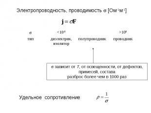 Электропроводность, проводимость s [Ом-1м-1] Удельное сопротивление