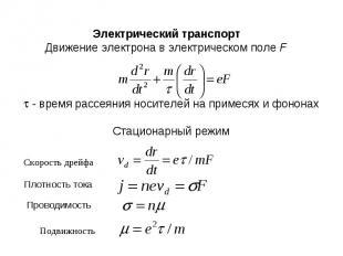 Электрический транспортДвижение электрона в электрическом поле F t - время рассе