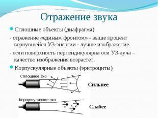 Отражение звука Сплошные объекты (диафрагма)- отражение «единым фронтом» - выше