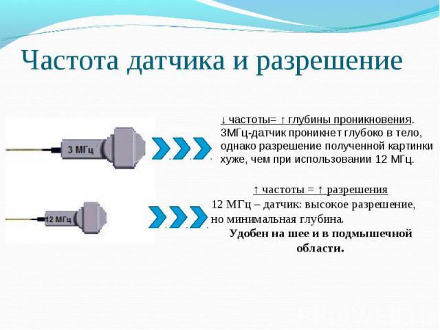 Частота датчика и разрешение ↓ частоты= ↑ глубины проникновения.3МГц-датчик проникнет глубоко в тело,однако разрешение полученной картинкихуже, чем при использовании 12 МГц.↑ частоты = ↑ разрешения12 МГц – датчик: высокое разрешение, но минимальная …