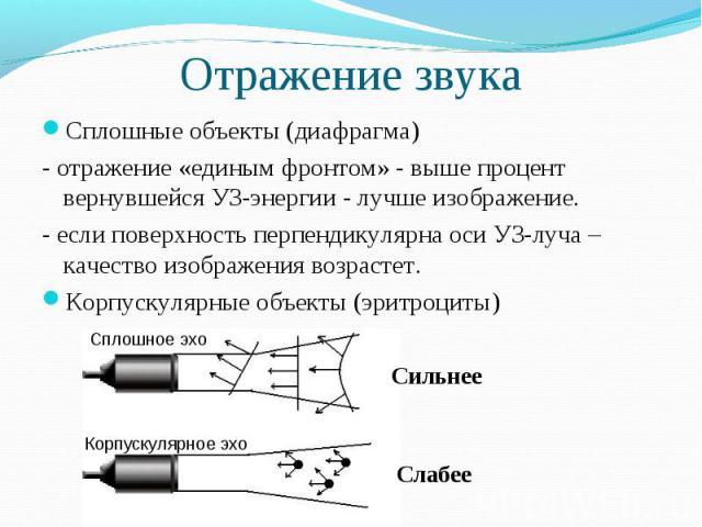 Отражение звука Сплошные объекты (диафрагма)- отражение «единым фронтом» - выше процент вернувшейся УЗ-энергии - лучше изображение.- если поверхность перпендикулярна оси УЗ-луча – качество изображения возрастет.Корпускулярные объекты (эритроциты)