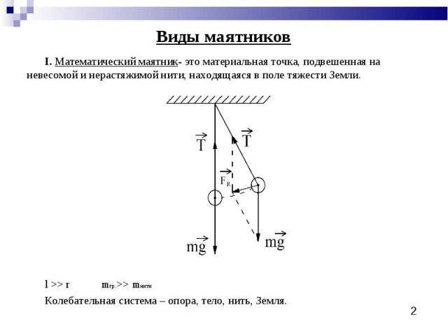 Виды маятников I. Математический маятник- это материальная точка, подвешенная на невесомой и нерастяжимой нити, находящаяся в поле тяжести Земли. l >> r mгр.>> mнитиКолебательная система – опора, тело, нить, Земля.