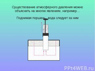 Существование атмосферного давления можно объяснить на многих явлениях, например