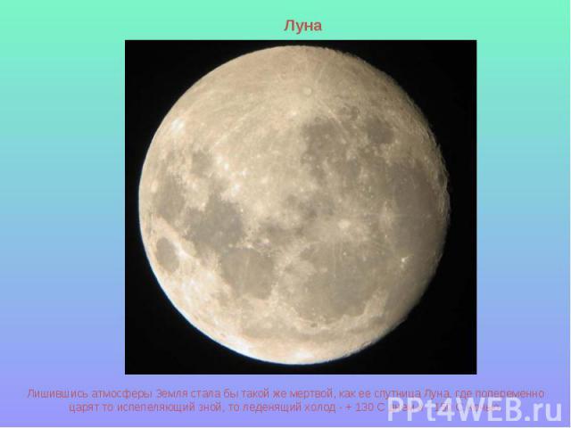 Луна Лишившись атмосферы Земля стала бы такой же мертвой, как ее спутница Луна, где попеременно царят то испепеляющий зной, то леденящий холод - + 130 С днем и - 150 С ночью.