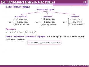 §4. Элементарные частицы Закон сохранения лептонных зарядов: для всех процессов