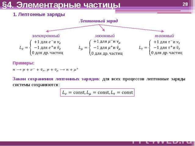 §4. Элементарные частицы Закон сохранения лептонных зарядов: для всех процессов лептонные заряды системы сохраняются: