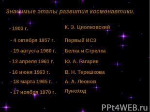 Значимые этапы развития космонавтики. - 1903 г.- 4 октября 1957 г.- 19 августа 1