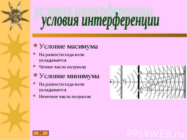 условия интерференции Условие масимумаНа разности хода волн укладываетсяЧетное число полуволнУсловие минимумаНа разности хода волн укладываетсяНечетное число полуволн