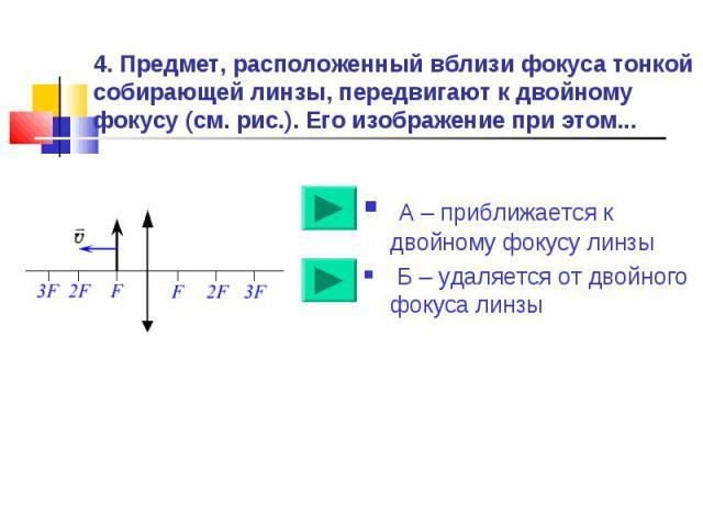 4. Предмет, расположенный вблизи фокуса тонкой собирающей линзы, передвигают к двойному фокусу (см. рис.). Его изображение при этом... А – приближается к двойному фокусу линзы Б – удаляется от двойного фокуса линзы