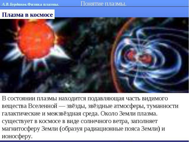 Понятие плазмы. Плазма в космосеВ состоянии плазмы находится подавляющая часть видимого вещества Вселенной — звёзды, звёздные атмосферы, туманности галактические и межзвёздная среда. Около Земли плазма. существует в космосе в виде солнечного ветра, …