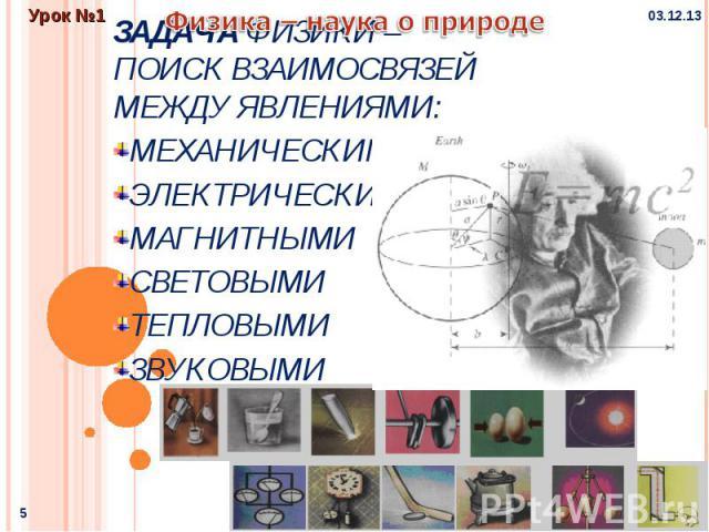 Задача физики – поиск взаимосвязей между явлениями: МеханическимиЭлектрическимиМагнитнымиСветовымиТепловымиЗвуковыми