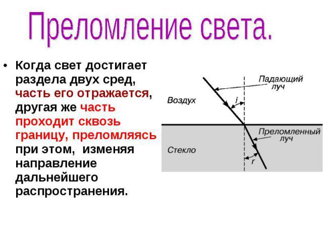 Преломление света. Когда свет достигает раздела двух сред, часть его отражается, другая же часть проходит сквозь границу, преломляясь при этом, изменяя направление дальнейшего распространения.