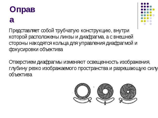Оправа Представляет собой трубчатую конструкцию, внутри которой расположены линзы и диафрагма, а с внешнейстороны находятся кольца для управления диафрагмой и фокусировки объективаОтверстием диафрагмы изменяют освещенность изображения, глубину резко…