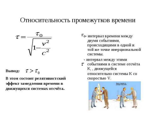 Относительность промежутков времени Вывод: В этом состоит релятивистский эффект замедления времени в движущихся системах отсчёта. - интервал времени между двумя событиями, происходящими в одной и той же точке инерциональной системы. - интервал между…