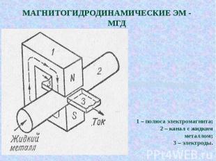МАГНИТОГИДРОДИНАМИЧЕСКИЕ ЭМ - МГД 1 – полюса электромагнита;2 – канал с жидким м