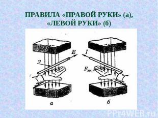 ПРАВИЛА «ПРАВОЙ РУКИ» (а), «ЛЕВОЙ РУКИ» (б)