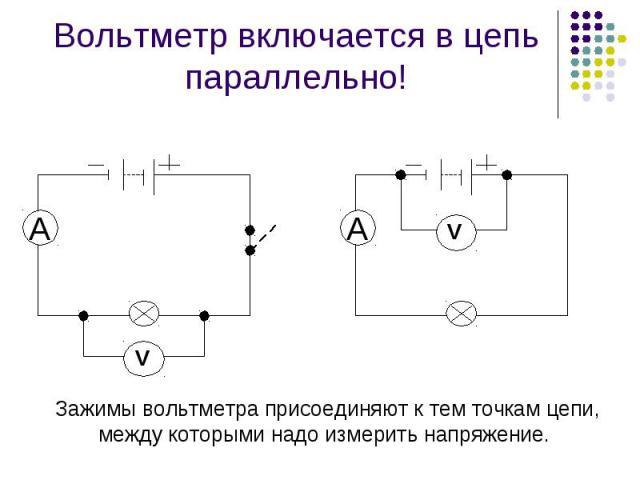 Вольтметр включается в цепь параллельно! Зажимы вольтметра присоединяют к тем точкам цепи, между которыми надо измерить напряжение.