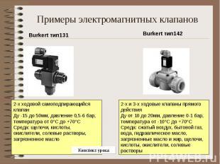 Примеры электромагнитных клапанов Burkert тип1312-х ходовой самоподпирающийся кл