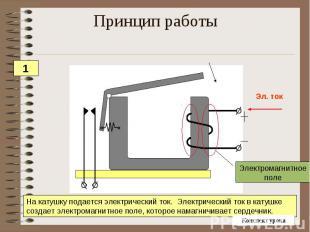 Принцип работы На катушку подается электрический ток. Электрический ток в катушк