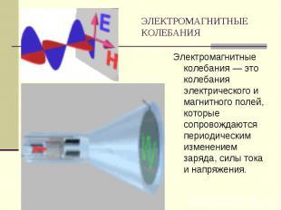 ЭЛЕКТРОМАГНИТНЫЕ КОЛЕБАНИЯ Электромагнитные колебания — это колебания электричес