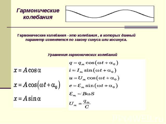 Гармонические колебания Гармонические колебания –это колебания , в которых данный параметр изменяется по закону синуса или косинуса.Уравнения гармонических колебаний