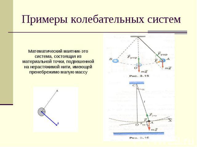 Примеры колебательных систем Математический маятник-это система, состоящая из материальной точки, подвешенной на нерастяжимой нити, имеющей пренебрежимо малую массу