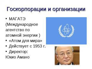 Госкорпорации и организации МАГАТЭ(Международное агентство по атомной энергии )«