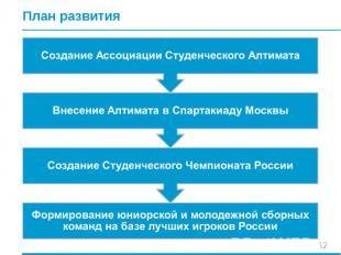 План развития Создание Ассоциации Студенческого Алтимата Внесение Алтимата в Спа