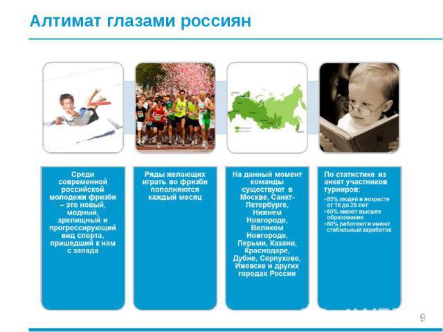 Алтимат глазами россиян Среди современной российской молодежи фризби – это новый, модный, зрелищный и прогрессирующий вид спорта, пришедший к нам с западаРяды желающих играть во фризби пополняются каждый месяцНа данный момент команды существуют в Мо…