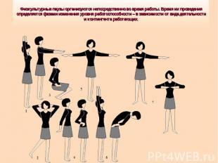 Физкультурные паузы организуются непосредственно во время работы. Время их прове