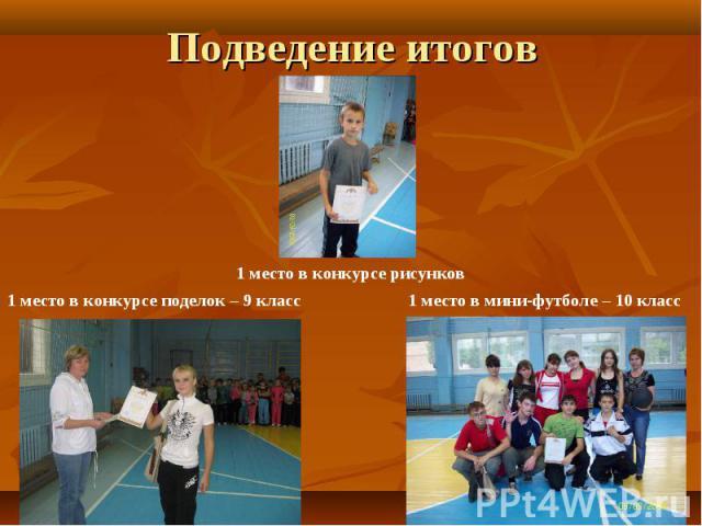 Подведение итогов 1 место в конкурсе рисунков1 место в конкурсе поделок – 9 класс1 место в мини-футболе – 10 класс